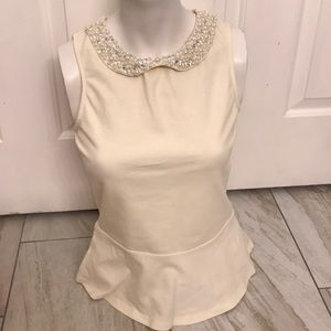Ann Taylor Dressy Top with pearls size XS